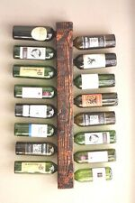 Wall Mounted Wine Rack Made of Solid Wood - Vertical Display Holds 16 Bottles
