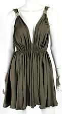 PLEIN SUD Olive Crepe Chain Detail Draped Babydoll Dress 38