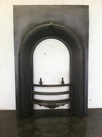 Original Restored Antique Cast Iron Victorian Fireplace Arched Insert (EM113)