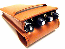 Tan Flap Soft Leather Triple/Quadruple 1,2,3,4 Pen Case/Pouch