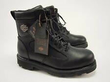 New HARLEY-DAVIDSON Relief 93074 Black Leather Lace-Up Motorcycle Boot 8.5
