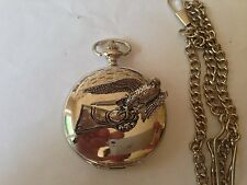 B23 Falcon on the glove polished silver case mens GIFT quartz pocket watch fob