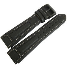 18mm Di-Modell Chronissimo Long Black Leather PVD BUCKLE German Watch Band Strap