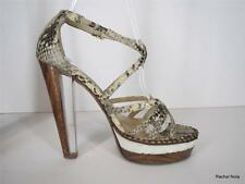 $1225 JIMMY CHOO 36 6 Python Snake Leather Platform Clear Lucite Strappy Heels