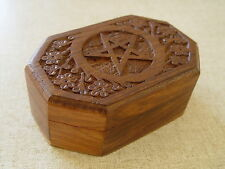 PENTACLE WOODEN BOX - CARVED - TAROT BOX - OCTAGONAL Wicca Witch Pagan Goth B