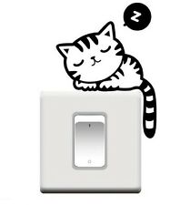 SLEEPING CAT SHAPED LIGHT SWITCH WALL DECAL STICKER (BRAND NEW)