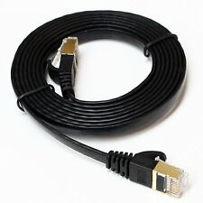 NEW 20M FLAT CAT6A ETHERNET LAN GIGABIT RJ45 BLACK CABLE LEAD SKY FREE POSTAGE