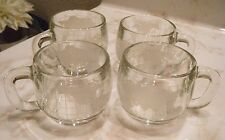 SET OF 4 NESTLES NESCAFE WORLD GLASS MUGS/ CUPS FOR COCO TEA OR COFFEE VINTAGE