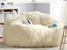 LARGE WHITE FAUX FUR BEANBAG COVER  GAMING CHAIR PARENTS RETREA130x116cmT