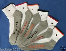 Tommy Hilfiger 6-Pair Men's Athletic Quarter Crew Socks White w/Gray Sole (3755)