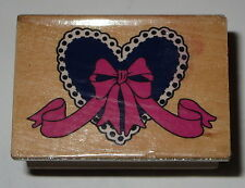 HEART Ribbon Rubber Stamp Wood Mounted #2 Bow Love Wedding Lace Edge
