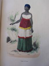 COSTUME AFRIQUE / Dame du Congo 1847 rehaussée de couleurs