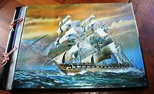 Lenticular 3D Hologram Sailing Tall Clipper Ship Photo Album Vtg Wood Music Box