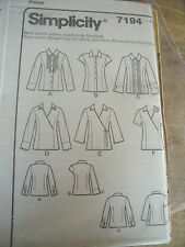 7194   PATRON SIMPLICITY 6 VERSIONS CHEMISE JABOT/CROISEE       TAILLE 34 A 42