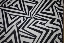 Black White Geometric ITY Print #60 Stretch Polyester Lycra Spandex Fabric BTY