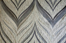 Blue Grey Beige Wave 3 Tone Drapery Upholstery Modern Fabric Sold By The Yard