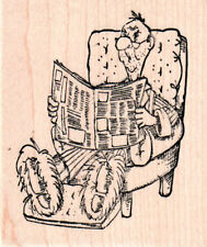 NEW ART IMPRESSIONS RUBBER STAMP Oscar Man reading Newspaper slippers wd mntd