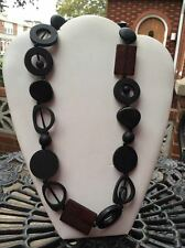 Gorgeous black and brown resin bead long link necklace