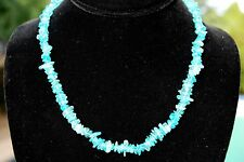 """CHARGED Neon Blue Apatite Crystal Chip Necklace + 18"""" Healing Energy WOW!!!"""