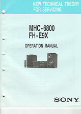 Sony OPERATION MANUAL liasse mhc-6800 fh-e9x mdx-60 - b2110