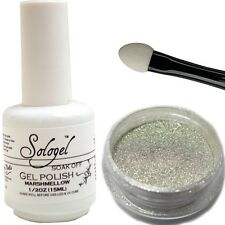 Magic Mirror Chrome Silver Pigment Nail Powder and White Gel Polish Kit