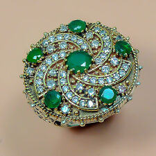 HIGH QUALITY 925 SILVER PLATED GREEN EMERALD TURKISH RING  M0384