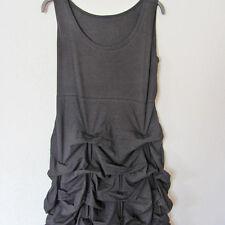 >>BORIS INDUSTRIES>>langes Kleid Lagenlook Raffsaum schwarz Baumwolle 48 (5)