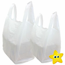 "200 x WHITE PLASTIC VEST CARRIER BAGS 10x15x18"" 12Mu *FAST DELIVERY*"