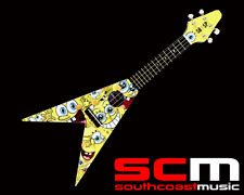 SPONGEBOB SQUAREPANTS FLYING V UKULELE PACK - SETUP READY TO PLAY UKE w WARRANTY