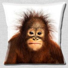 """NEW CUTE BABY BROWN ORANGUTAN  PHOTO PRINT ON WHITE 16"""" Pillow Cushion Cover"""