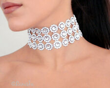 HANDMADE TARA 3 Row Large Diamante Effect Choker Necklace SILVER