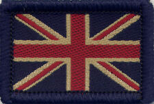 Union Jack UK British Flag Woven Badge Patch Vintage Dark Tones 4 x 2.7cm