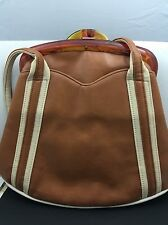 VINTAGE CARMEL LEATHER CREAM TRIM LUCITE FRAME SHOULDER BAG PURSE CIRCA 1940