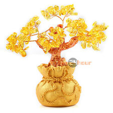 Yellow Citrine Crystal Money Wealth Bag Feng Shui Lucky Tree Size S