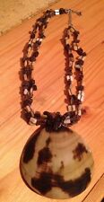 Pretty Shell Bead & Shell Disc Necklace/Chunky/Cream/Brown/Statement/Hippy/Boho