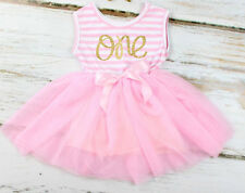 BABYS 1st First BIRTHDAY DRESS GIRLS PARTY Tutu Ballet PINK Outfit cake 9-12m