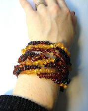 Gorgeous 3 Strand 3 Color Raw Natural Baltic Amber Beaded Bracelet or Necklace