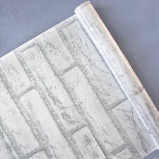 45cmx10m White Grey Brick/Stone Prepasted Adhesive Contact Paper Wallpaper Roll
