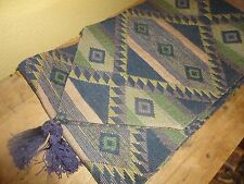 SOUTHWESTERN BLUE PURPLE GREEN TABLE RUNNER TURQUOISE 82 X 12 TASSELS