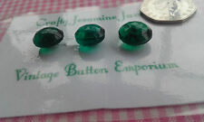 3 Green Glass Textured Vintage Buttons 14mm Shank Craft Sewing