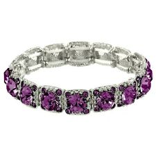 Crystal Bracelet Pave Rhinestones Square Cut Stretch SILVER AMETHYST Evening