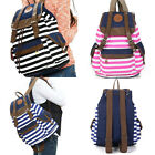 Popular Boy's Fashional Unisex Backpack Canvas Naval Style Stripe Bags