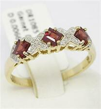 Garnet & Diamond 9ct Solid Gold Natural Ring - 30 Day Returns, Free Shipping