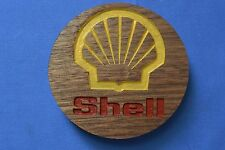 Shell Gas Magnet Walnut Wood Refrigerator Magnet American Made/ Homemade