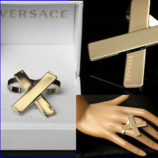 GIANNI VERSACE Ladies GOLD DOUBLE RING w/ Box