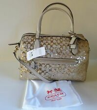 NWT COACH Poppy Champagne Beige Gold Sequins Sig EW Satchel Crossbody Bag 26438
