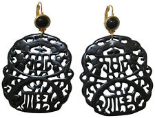 Kenneth Jay Lane Black Colored Carved Resin Drop Earrings