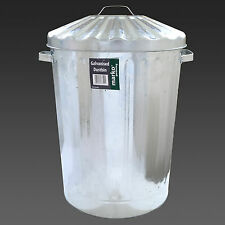 Large 90L Galvanised Metal Bin Rubbish Waste Dustbin Animal Feed Storage Litre