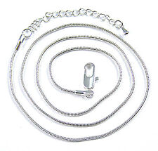 """Snake Chain Adjustable Necklace Silver Plate 16"""" to 18"""" 1mm Thin Lobster Clasp"""