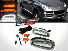 Front LED DRL Daytime Lights+Amber Turn Signal Fits 2006-2010 Porsche Cayenne